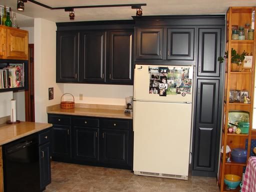 New Midnight Blue Cabinets For More Countertop Space And Framing In New  Location For Refrigerator.